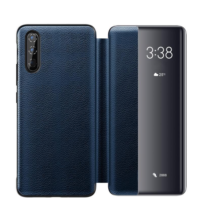 Husa slim piele naturala, smart cover, Huawei P30, Xoomz by iCarer Litchi Smart, Albastru