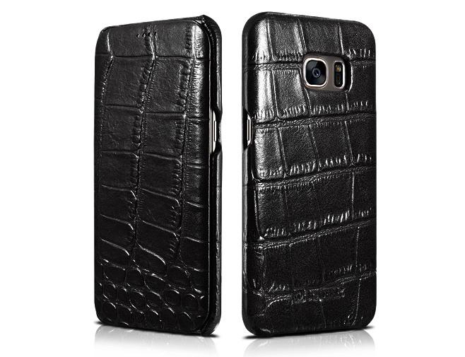 Husa din piele naturala cu aspect piele crocodil Samsung S7 Edge - iCarer Crocodile, Negru