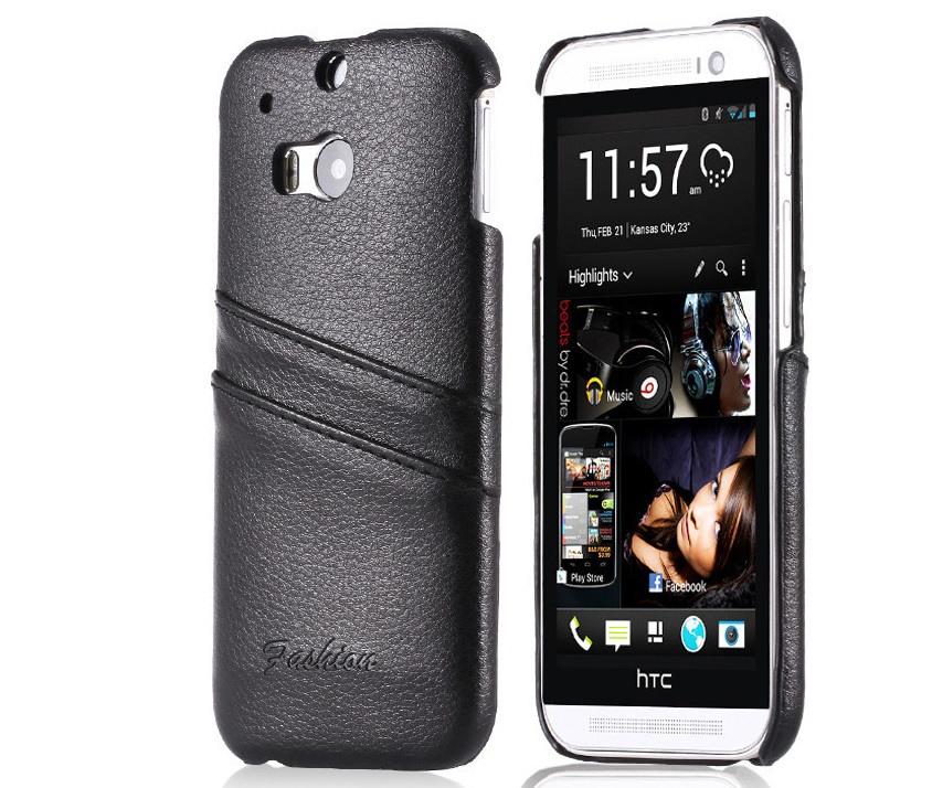 Husa slim din piele naturala, tip back cover, cu buzunarase, HTC One M8 / M8s - CaseMe, Negru