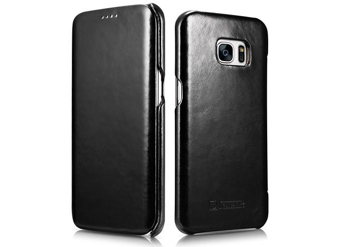 Husa din piele naturala, tip carte, Samsung Galaxy S7 Edge - iCARER Vintage, Negru