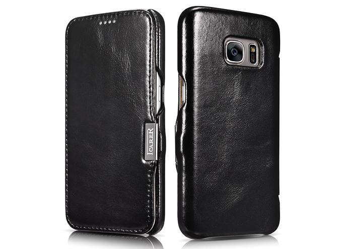 Husa din piele naturala, tip carte, Samsung Galaxy S7 - iCARER Vintage, Negru
