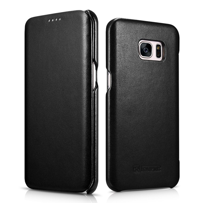 Husa din piele naturala, tip carte, Samsung Galaxy S7 Edge - iCarer Luxury, Negru