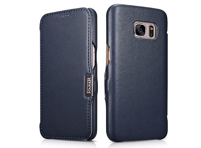 Husa din piele naturala, tip carte, Samsung Galaxy S7 - iCarer Luxury, Albastru