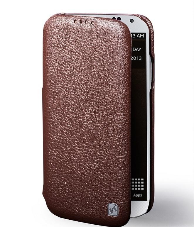 Husa din piele naturala tip carte, Samsung Galaxy S4 - HOCO Duke, Maro