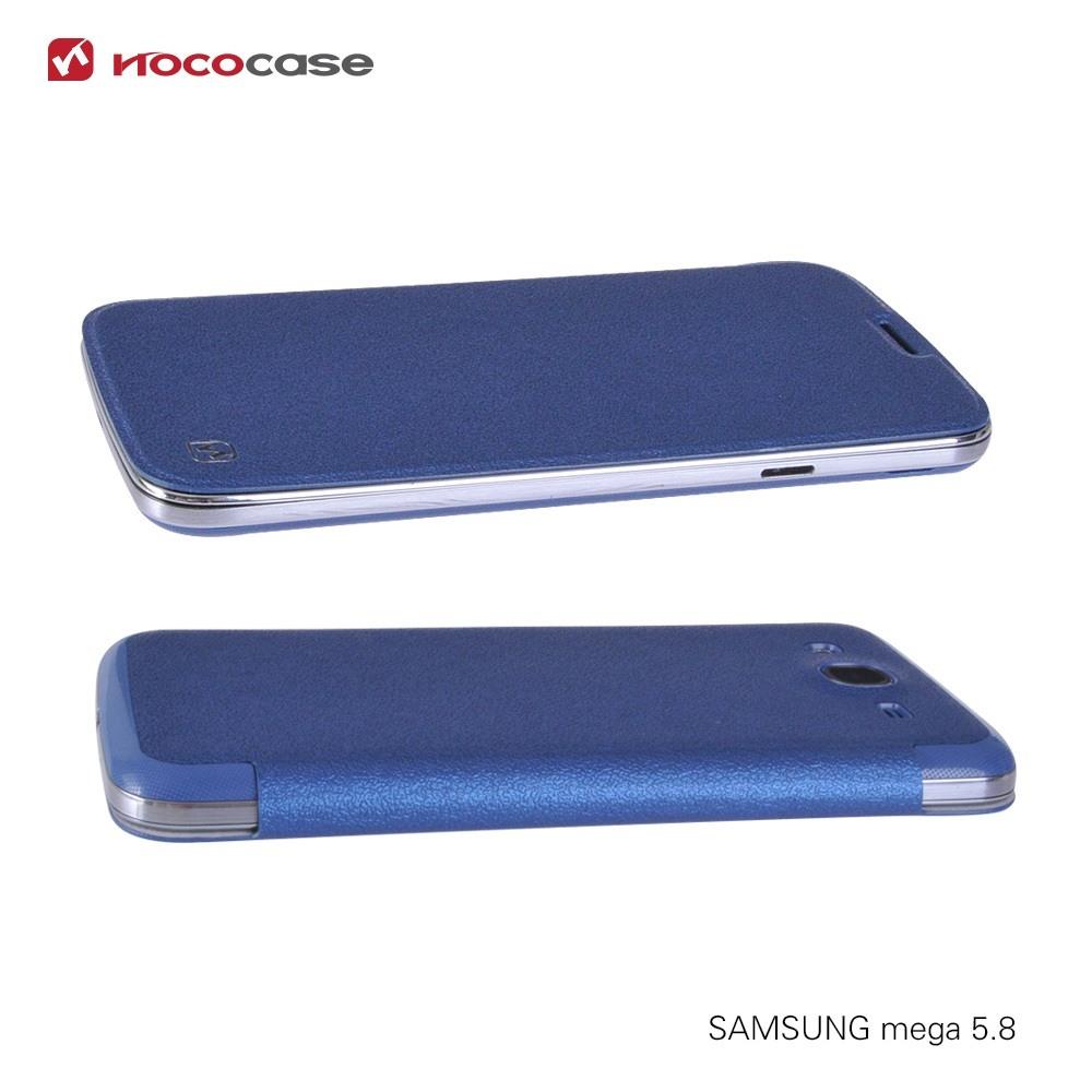 Husa slim piele cu inlocuire capac, Samsung Galaxy Mega 5.8 - Hoco Dazzled, Albastru