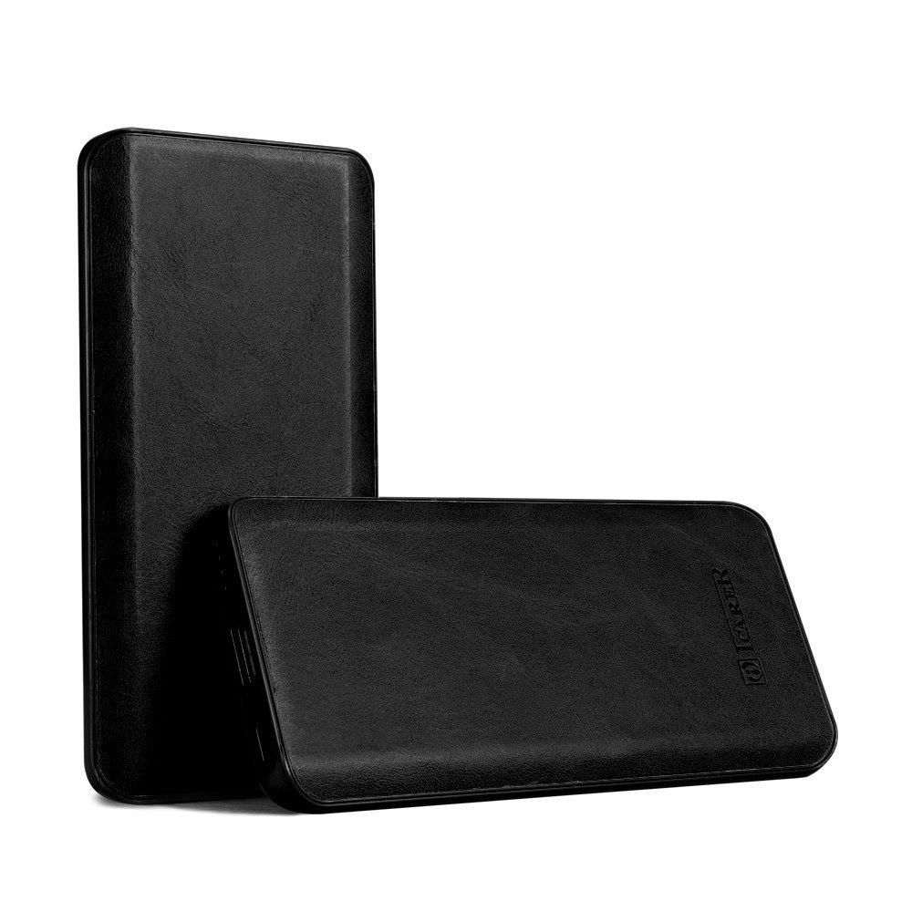 Baterie externa eleganta, slim, din piele naturala, 6000mAh, incarcare USB - iCarer Vintage Curved, Negru