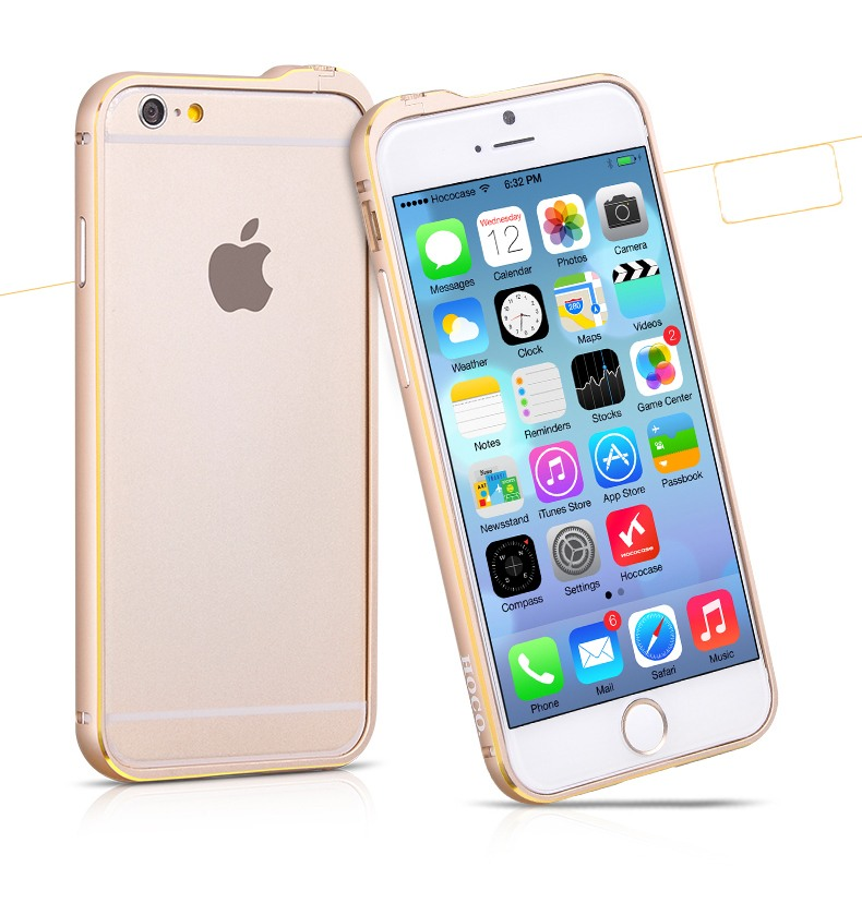 Bumper slim din aluminiu satinat, iPhone 6 - Hoco Fedora, Gold