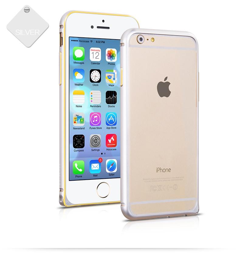 Bumper slim din aluminiu satinat, iPhone 6 - Hoco Hippocampal, Argintiu