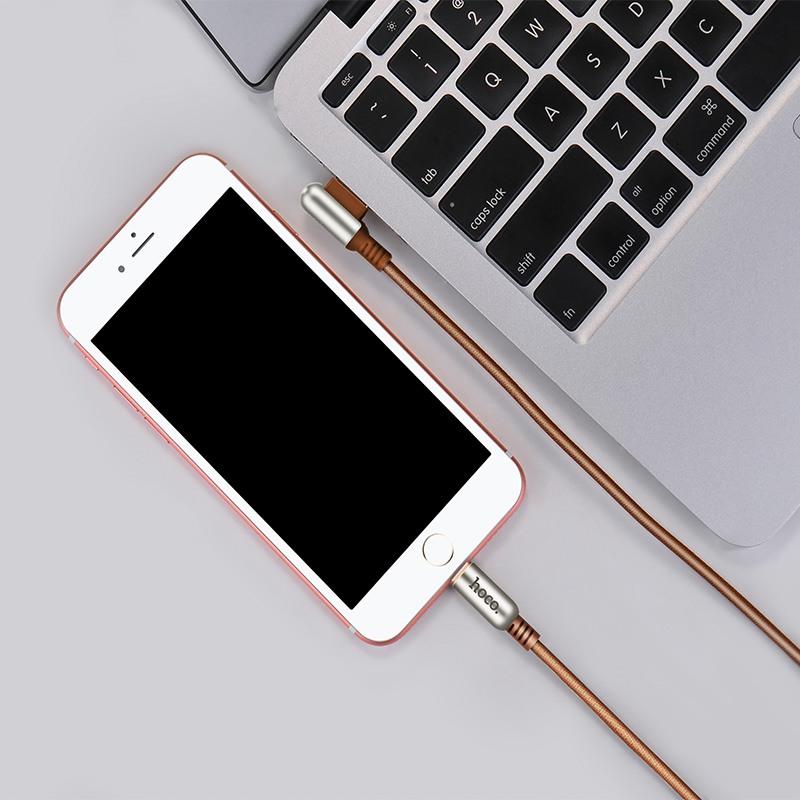 Cablu incarcare textil impletit , capete aliaj zinc, USB + Lightning - Hoco, Maro coffee