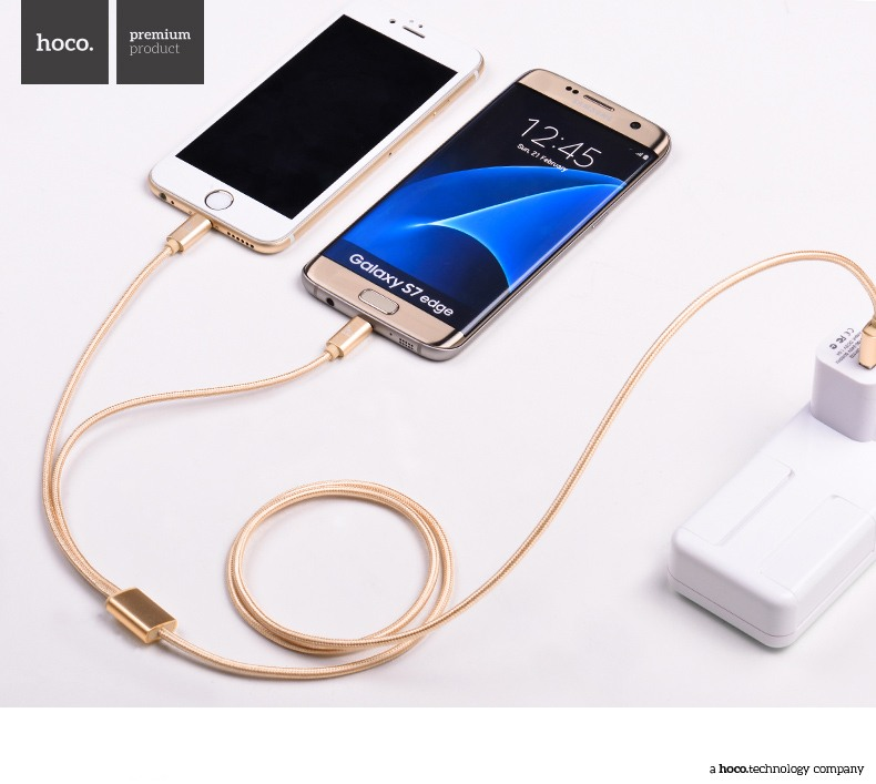 Cablu incarcare textil multifunctional 2 in 1, USB + Lightning + MicroUSB - Hoco, Gold