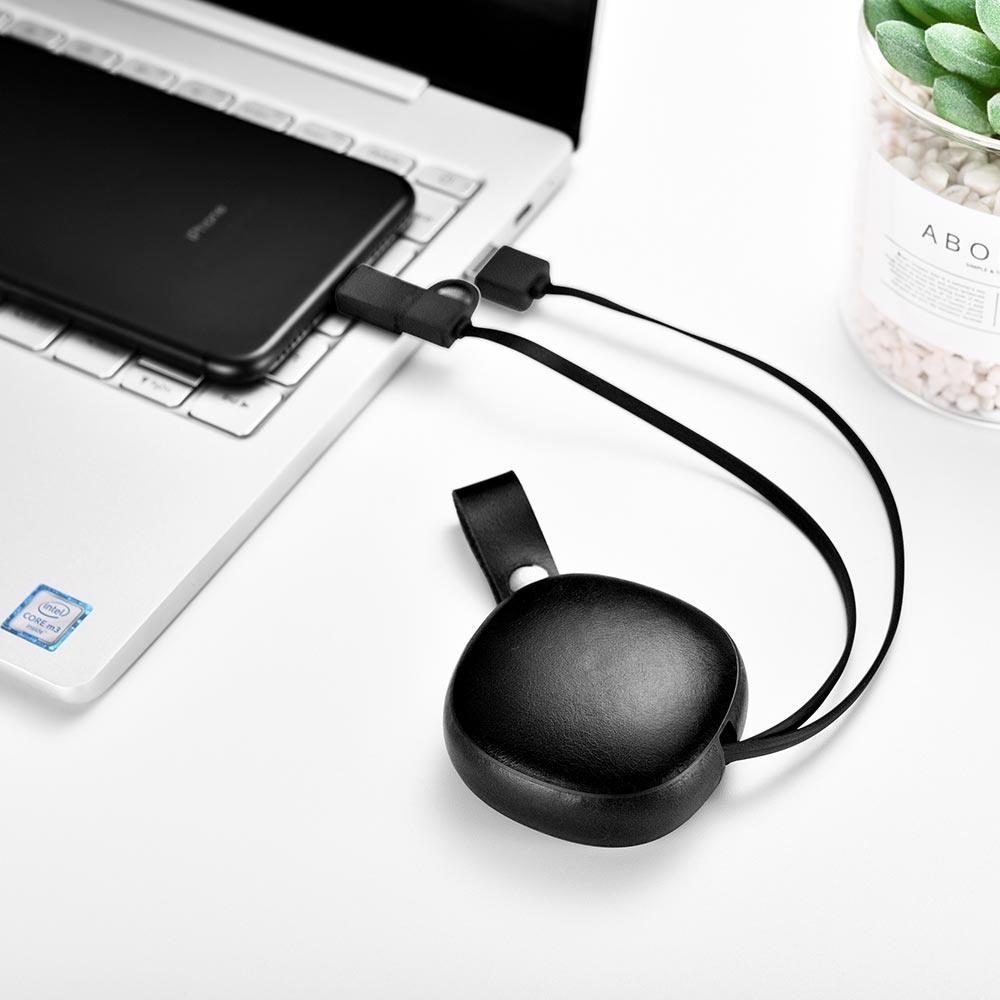 Cablu de incarcare retractabil 2 in 1, piele naturala, USB + Lightning / Micro USB - iCarer Vintage, Negru