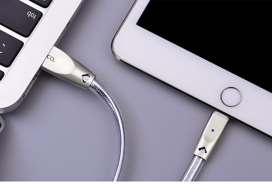 Cablu USB + Lightning, capete din aliaj de zinc si cablu cu protectie din TPU - Hoco, Argintiu