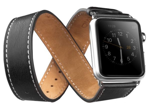 Curea 2 in 1 din piele de vitel, Apple Watch Series 5, 4 - 44mm, 1, 2, 3 - 42mm, Qialino Classic, Negru