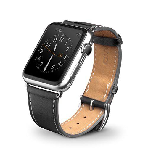 Curea moale din piele de vitel, Apple Watch Series SE, 6, 5, 4 - 40mm, 1, 2, 3 - 38mm, Qialino Classic, Negru