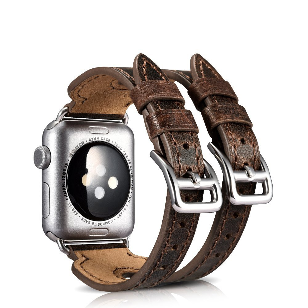 Curea din piele naturala Apple Watch Series SE, 6, 5, 4 - 44mm, 1, 2, 3 - 42mm - iCarer Double Buckle Cuff, Maro coffee