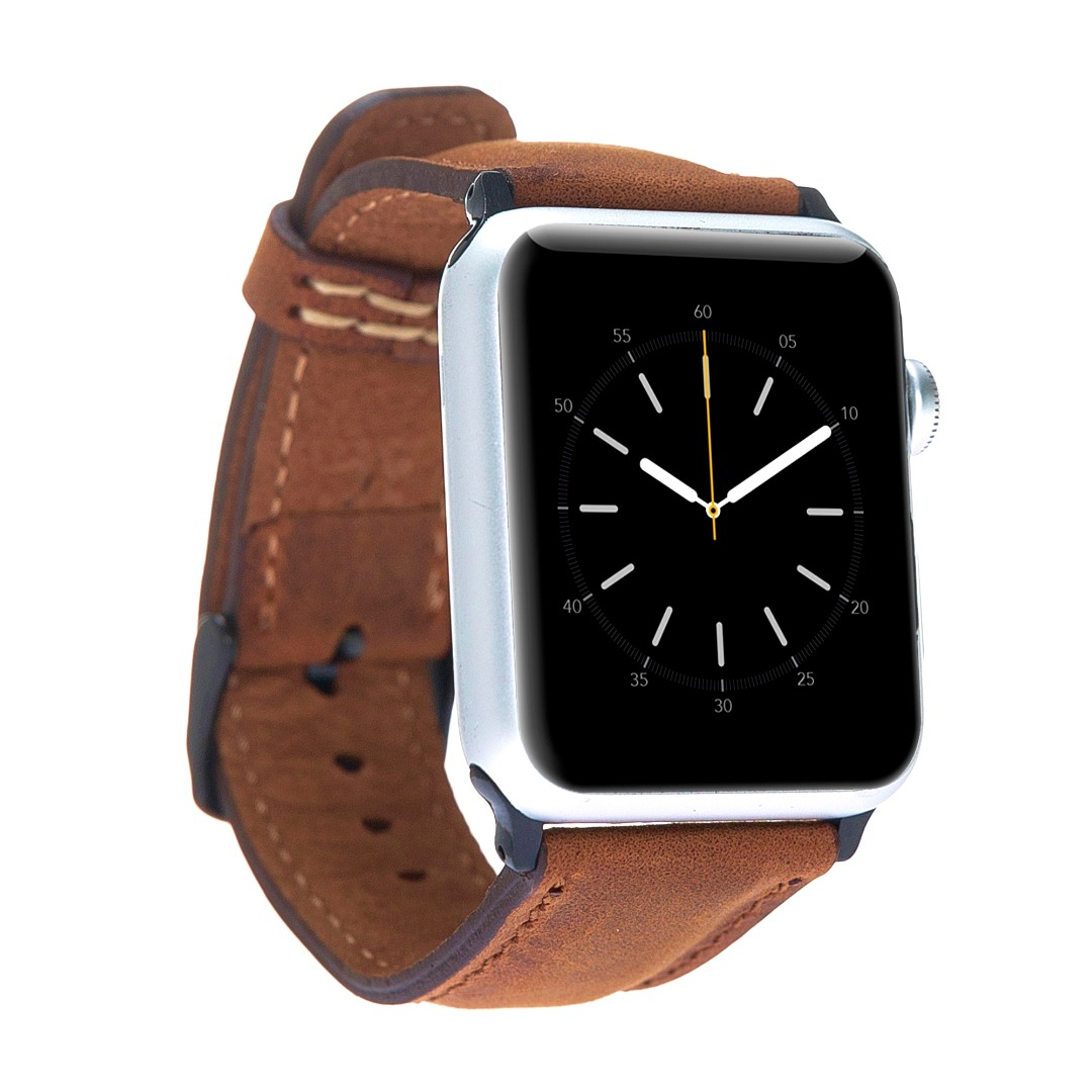 Curea piele naturala premium, adaptori negri, Apple Watch 5, 4 - 44mm, 1, 2, 3 - 42mm - Bouletta, Antique brown