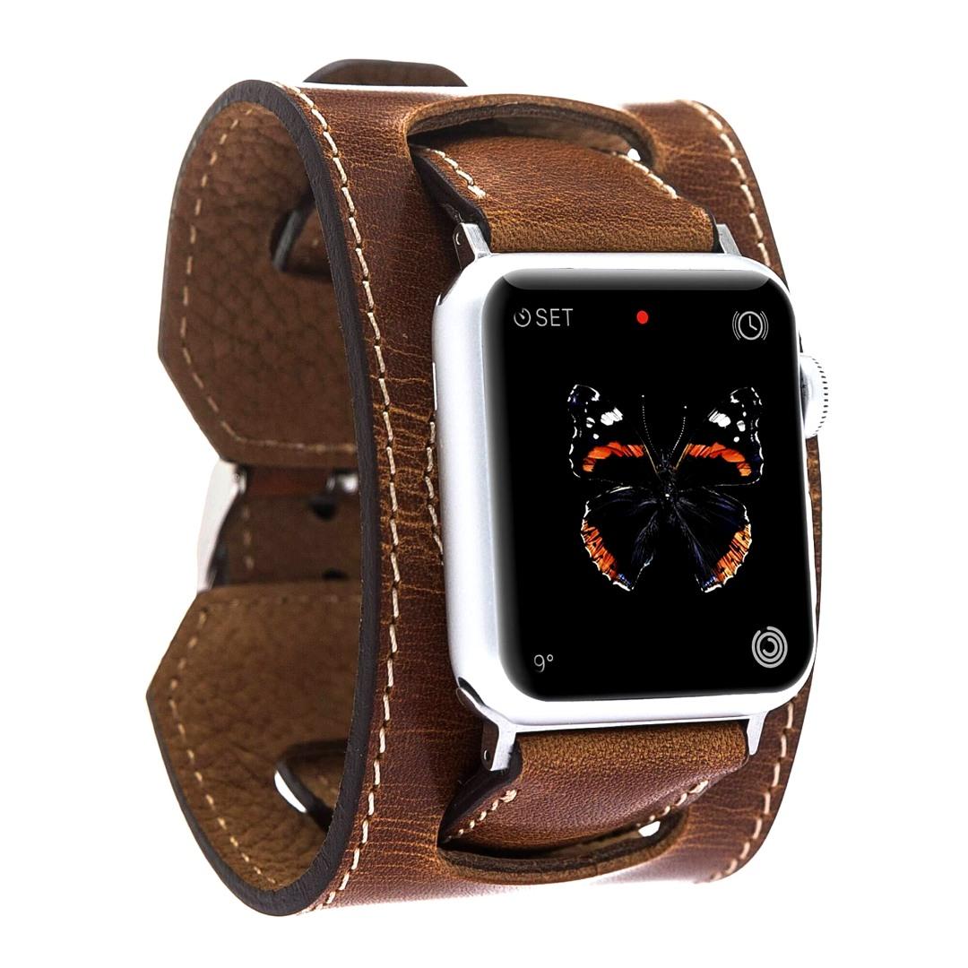 Curea 2 in 1 din piele naturala premium, adaptori negri, curea tip manseta, Apple Watch SE, 6, 5, 4 - 44mm, 1, 2, 3 - 42mm - Bouletta, Tan