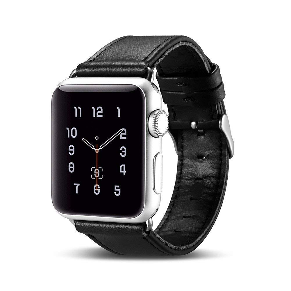 Curea din piele naturala Apple Watch SE, 6, 5, 4 - 44mm, 1, 2, 3 - 42mm - iCarer, Negru