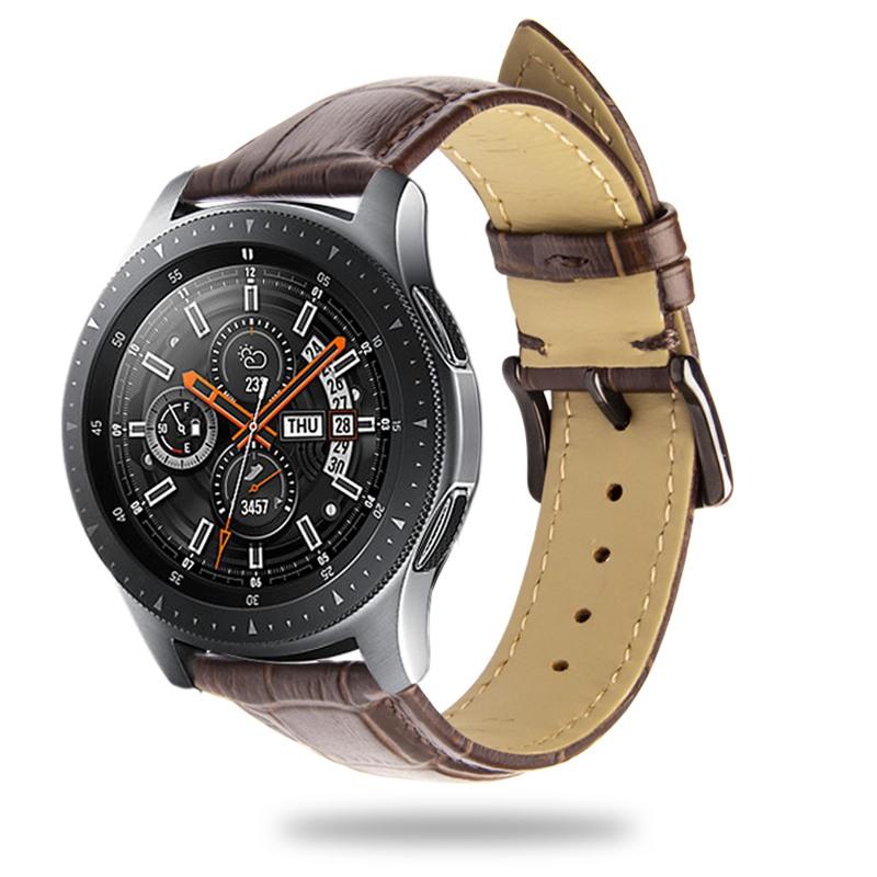 Curea piele naturala aspect croco, Samsung Galaxy Watch 46mm, Samsung Gear S3 Classic, S3 Frontier, 22mm, ROPS by Qialino, Maro