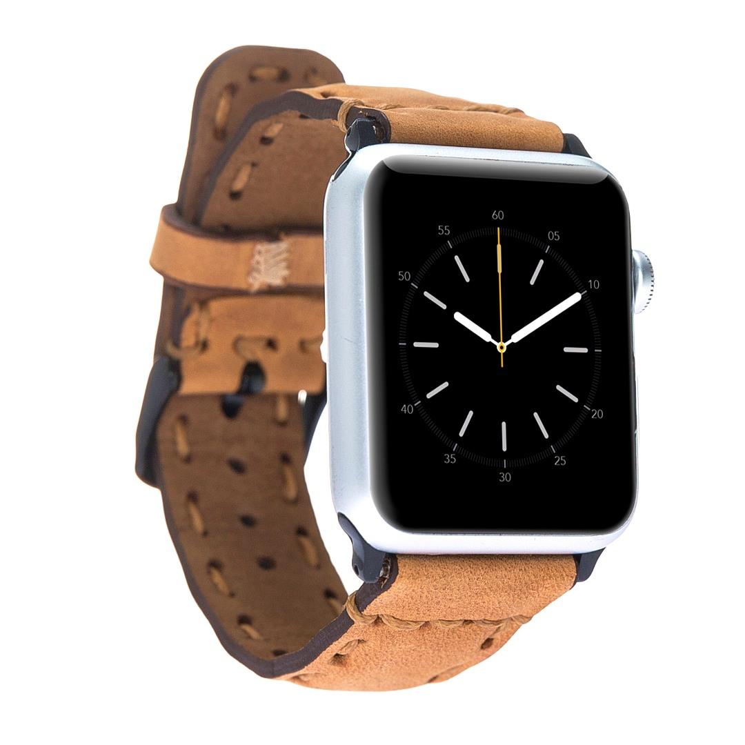 Curea din piele naturala premium, cusatura groasa, adaptori negri, Apple Watch SE, 6, 5, 4 - 44mm, 1 2 3 - 42mm Bouletta, Antique golden brown