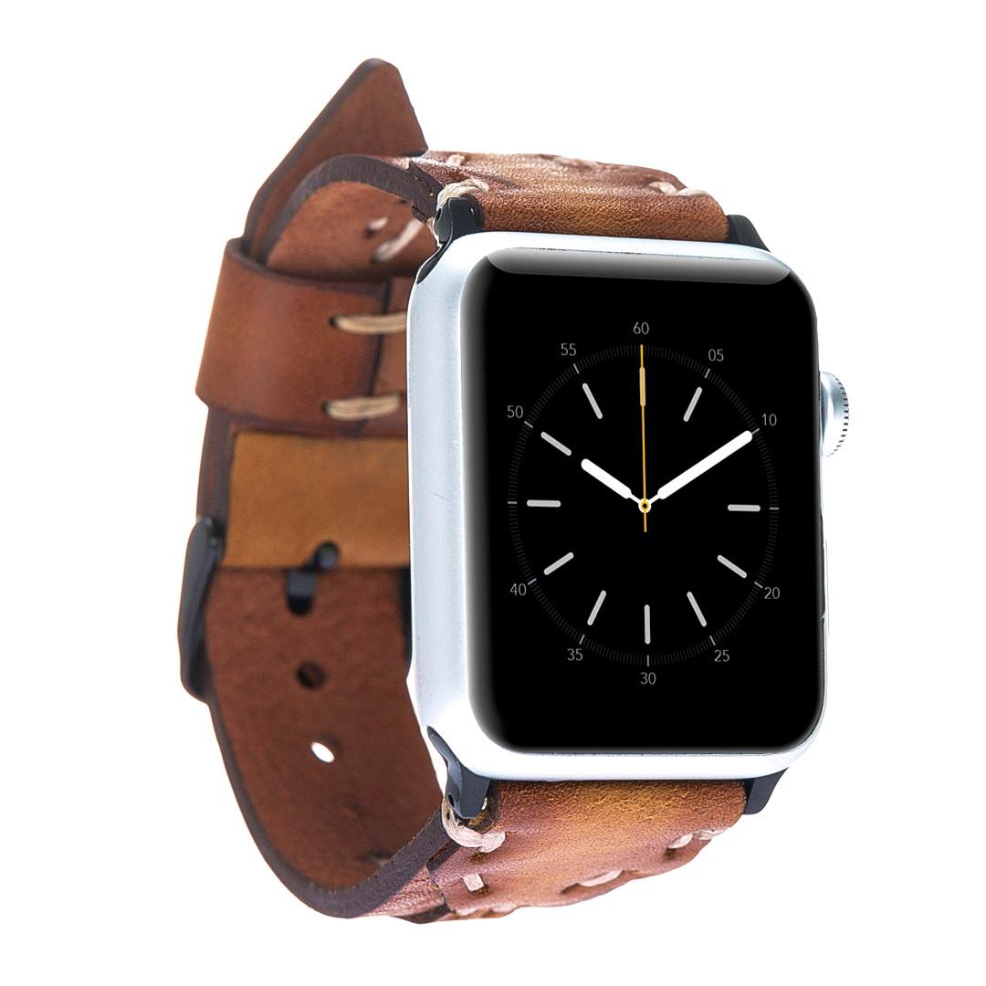 Curea piele naturala premium, cu cusaturi, adaptori negri, Apple Watch SE, 6, 5, 4 - 44mm, 1, 2, 3 - 42mm - Bouletta Cowboy, Maro coniac