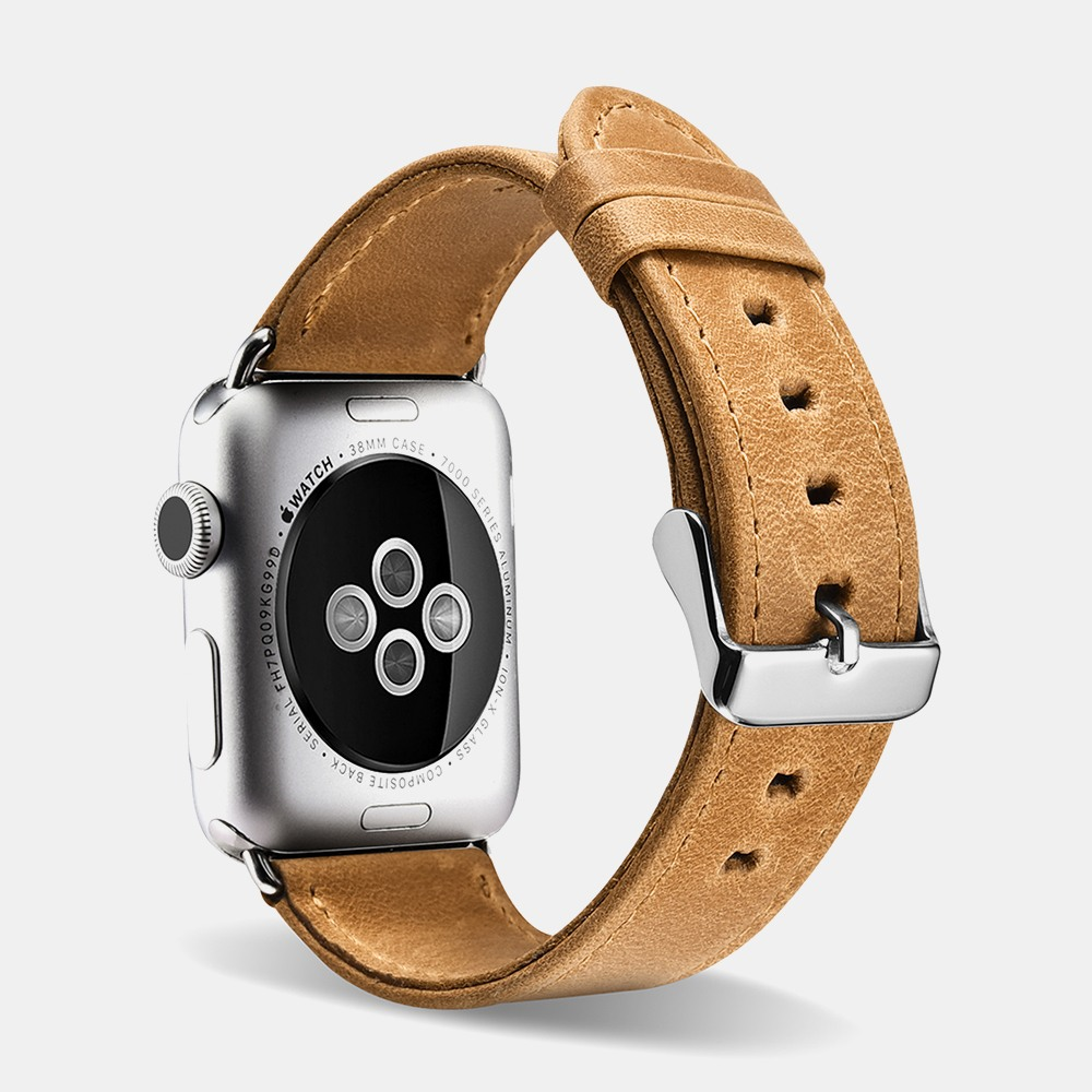 Curea din piele naturala Apple Watch Series 5, 4 - 44mm, 1, 2, 3 - 42mm, iCarer Retro Leather, Sandy brown