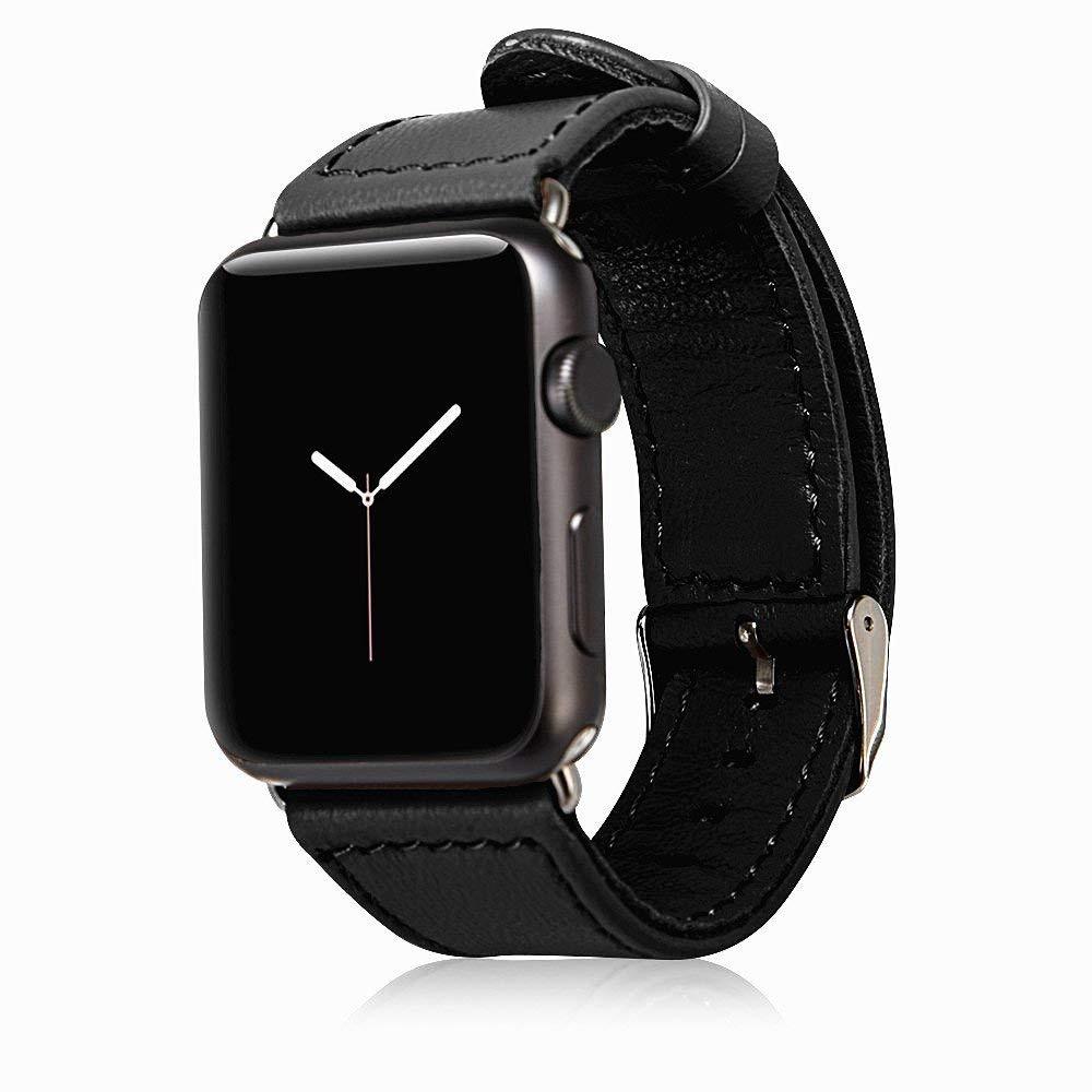 Curea din piele naturala Apple Watch SE, 6, 5, 4 - 44mm, 1, 2, 3 - 42mm - Jison Case, Negru