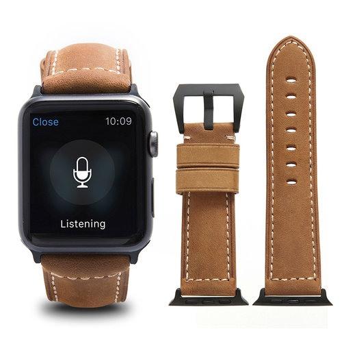 Curea piele naturala, adaptori negri, Apple Watch 5, 4 - 44mm, 1, 2, 3 - 42mm, ROPS Art Luxury by Qialino, Maro