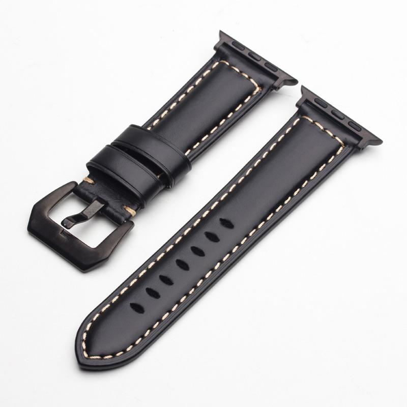 Curea piele naturala fina, adaptori negri, cusatura contrast, Apple Watch 5, 4 - 44mm, 1, 2, 3 - 42mm, ROPS by Qialino, Negru