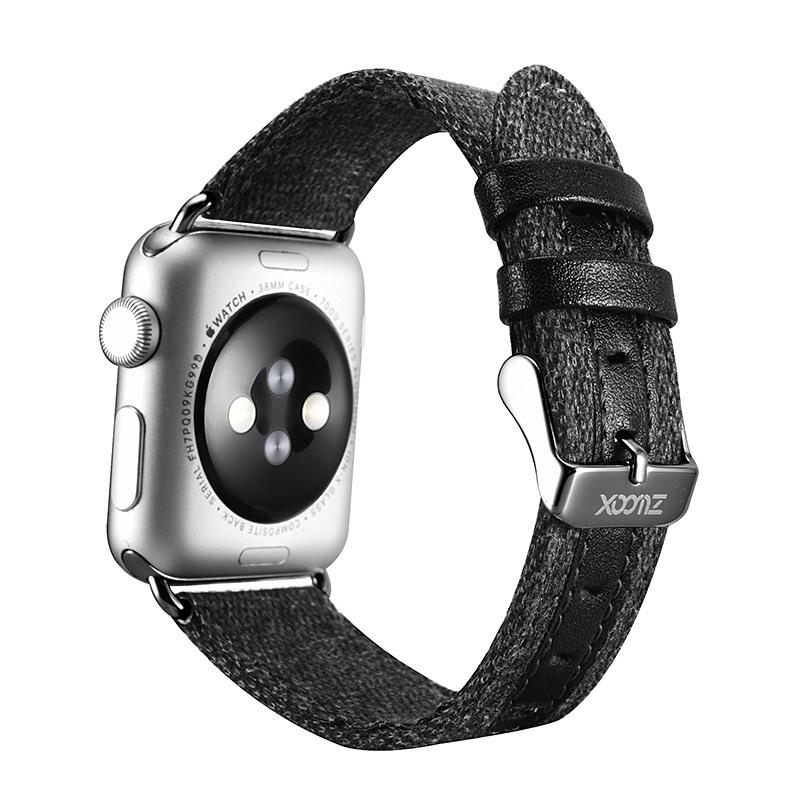 Curea din material textil, Apple Watch 5, 4 - 44mm, 1, 2, 3 - 42mm - Xoomz by iCarer, Negru