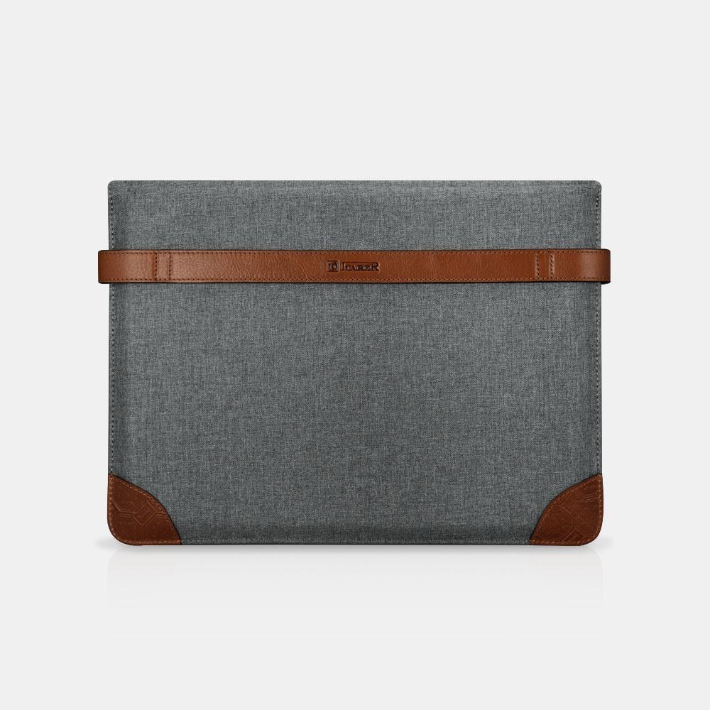 Husa / Geanta slim din piele naturala + textil waterproof, inchidere sigura cu capse, iPad Pro 12.9 - iCarer, Gri