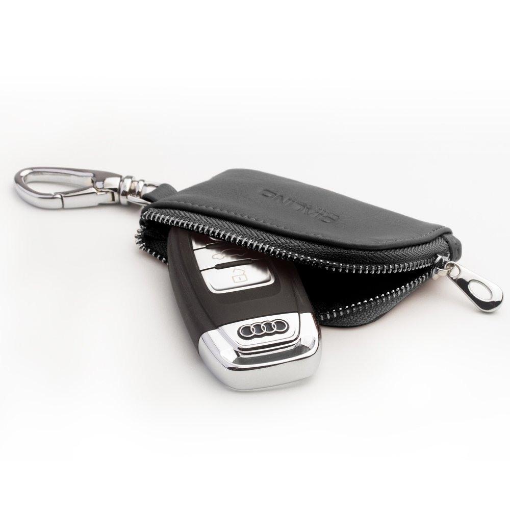 Husa slim din piele moale, cu carabina, pentru AirPods 1 / AirPods 2 / AirPods Pro, Samsung Galaxy Buds Plus, monede / cheie masina - Qialino, Negru