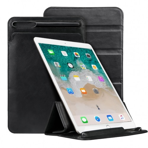 Husa piele fina microfibra tip plic, functie stand, suport pencil, iPad Pro 10.5 / iPad Air 3 10.5 - Jison Case Pouch, Negru