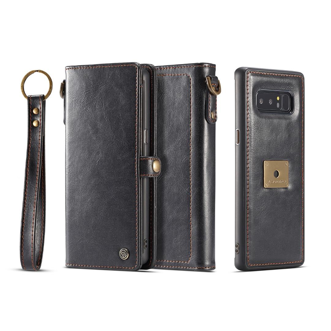 Husa piele portofel, multifunctionala, buzunare carduri, bani, casti, chei, Samsung Galaxy Note 8 - CaseME, Negru