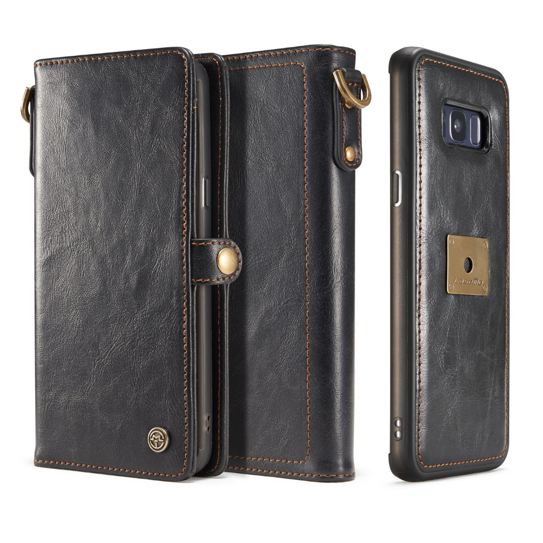 Husa piele portofel, multifunctionala, buzunare carduri, bani, casti, chei, Samsung Galaxy S8 Plus - CaseME, Negru