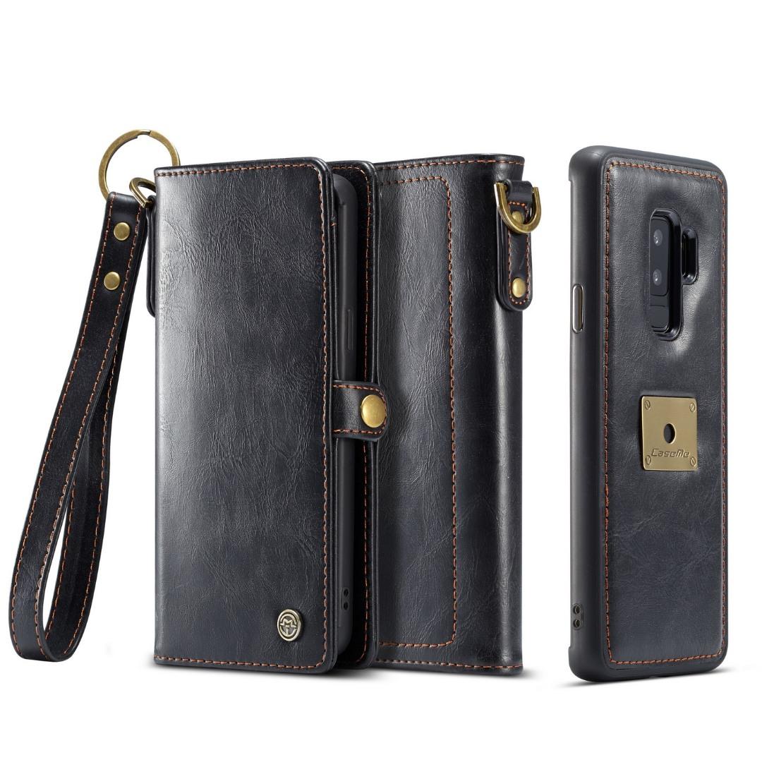 Husa piele portofel, multifunctionala, buzunare carduri, bani, casti, chei, Samsung Galaxy S9 Plus - CaseME, Negru