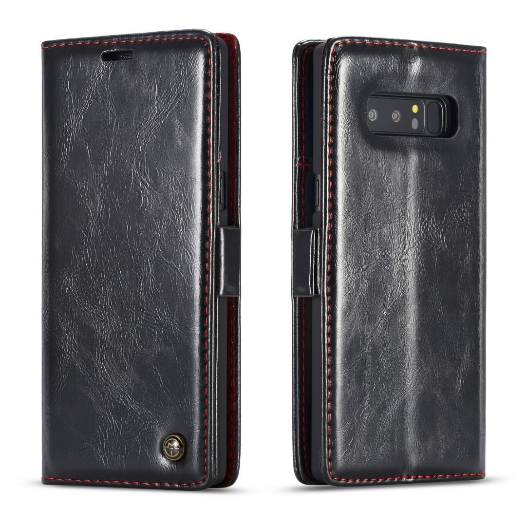 Husa piele fina, tip portofel, stand, inchidere magnetica, Samsung Galaxy Note 8 - CaseMe, Negru