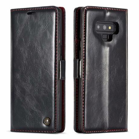 Husa piele fina, tip portofel, stand, inchidere magnetica, Samsung Galaxy Note 9, CaseMe, Negru