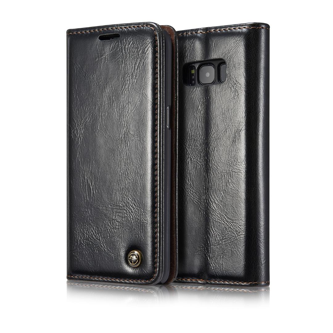 Husa piele fina, tip portofel, stand, inchidere magnetica, Samsung Galaxy S8 Plus - CaseMe, Negru