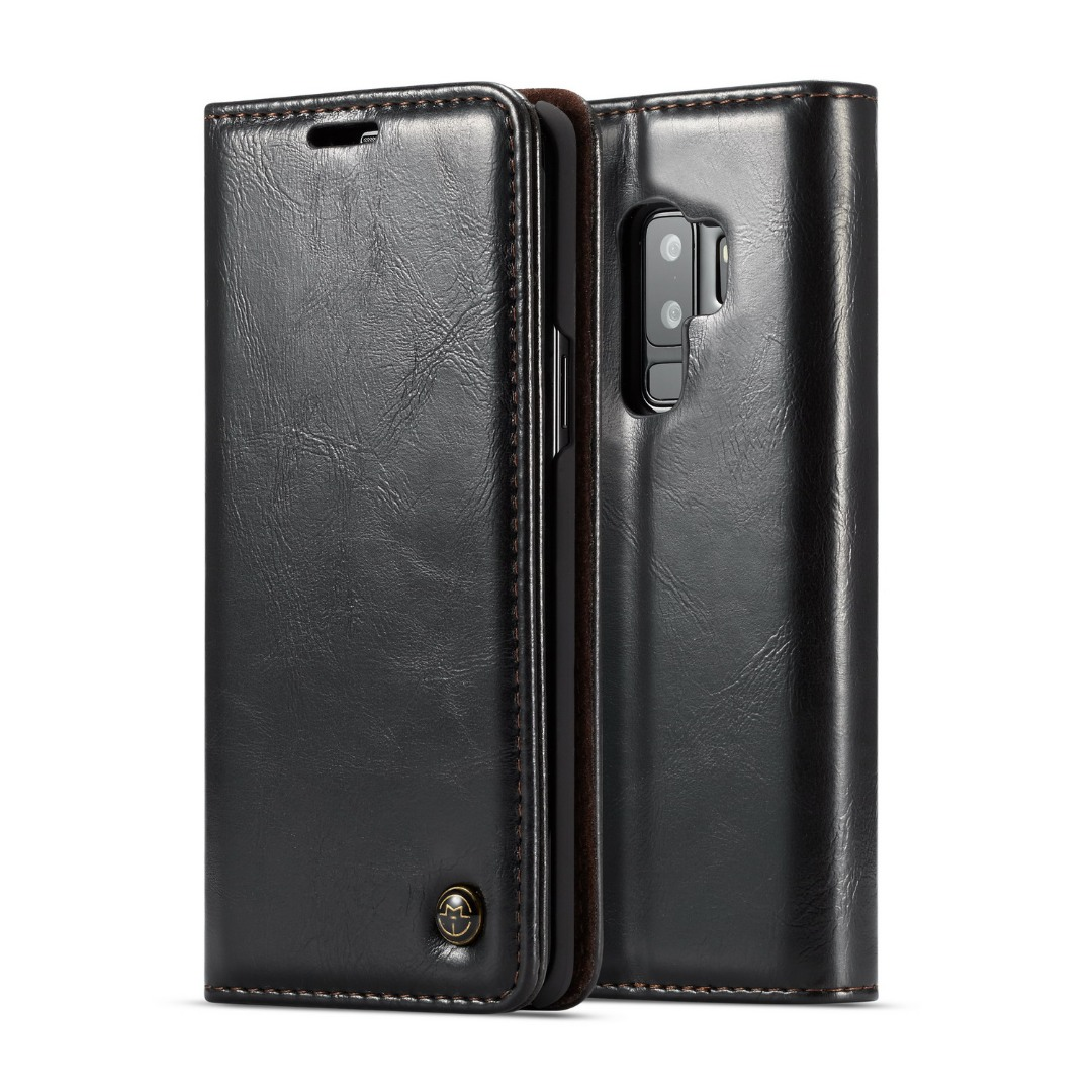 Husa piele fina, tip portofel, stand, inchidere magnetica, Samsung Galaxy S9 Plus - CaseMe, Negru