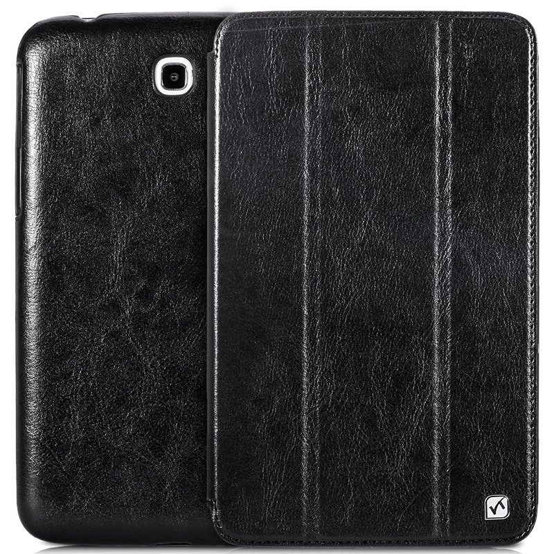 Husa slim piele fina, Hoco Crystal, Samsung Galaxy Tab 3 7.0, smart cover, functie stand, Negru