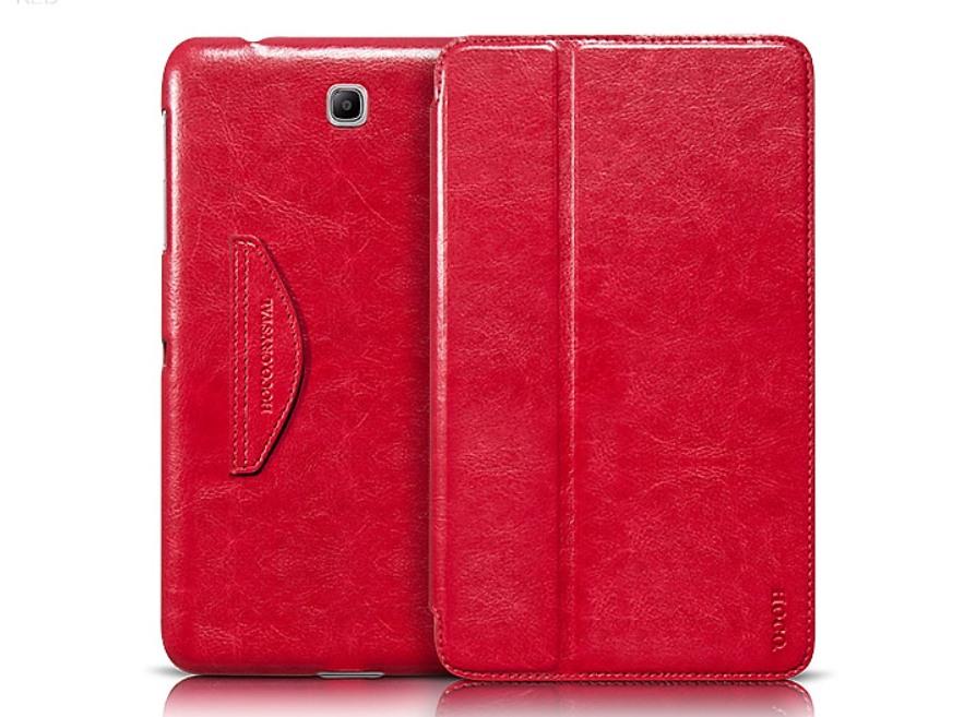 Husa slim piele fina, Hoco Crystal, Samsung Galaxy Tab 4 8.0, smart cover, functie stand, Rosu