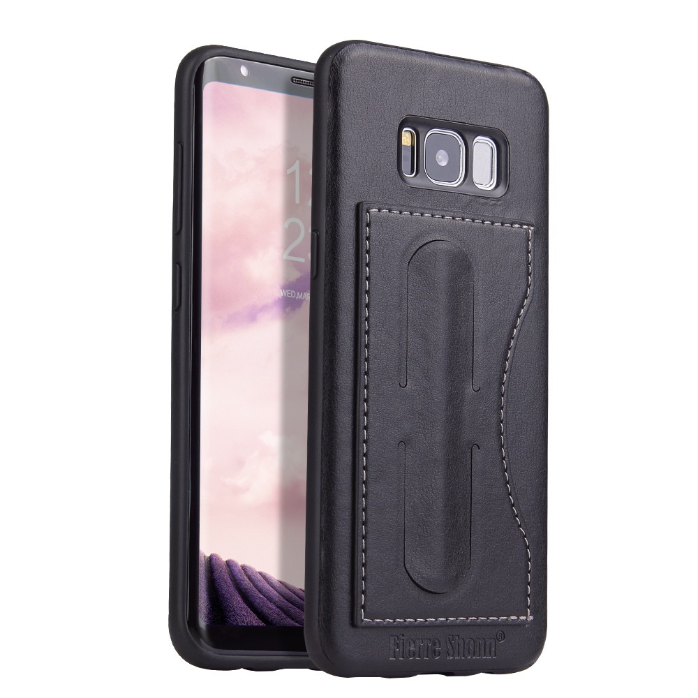 Husa slim piele, slot card, functie stand, tip back cover, Samsung Galaxy S8 - CaseMe, Negru