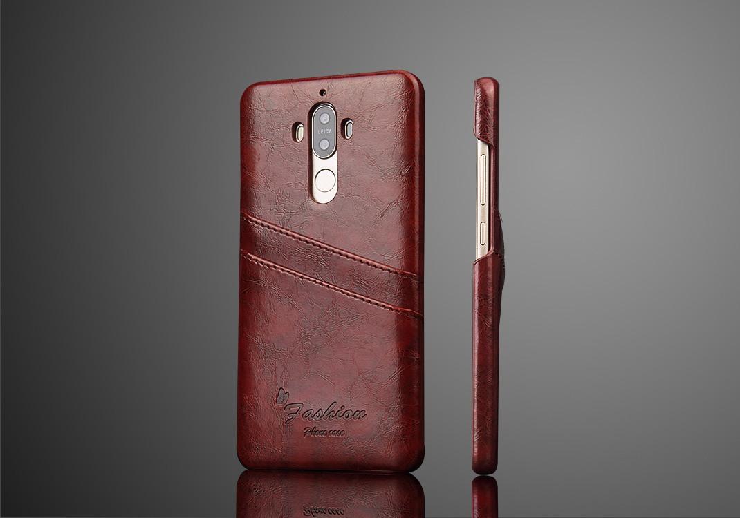 Husa slim piele cu textura vintage, tip back cover, Huawei Mate 9 - CaseMe, Maro coniac