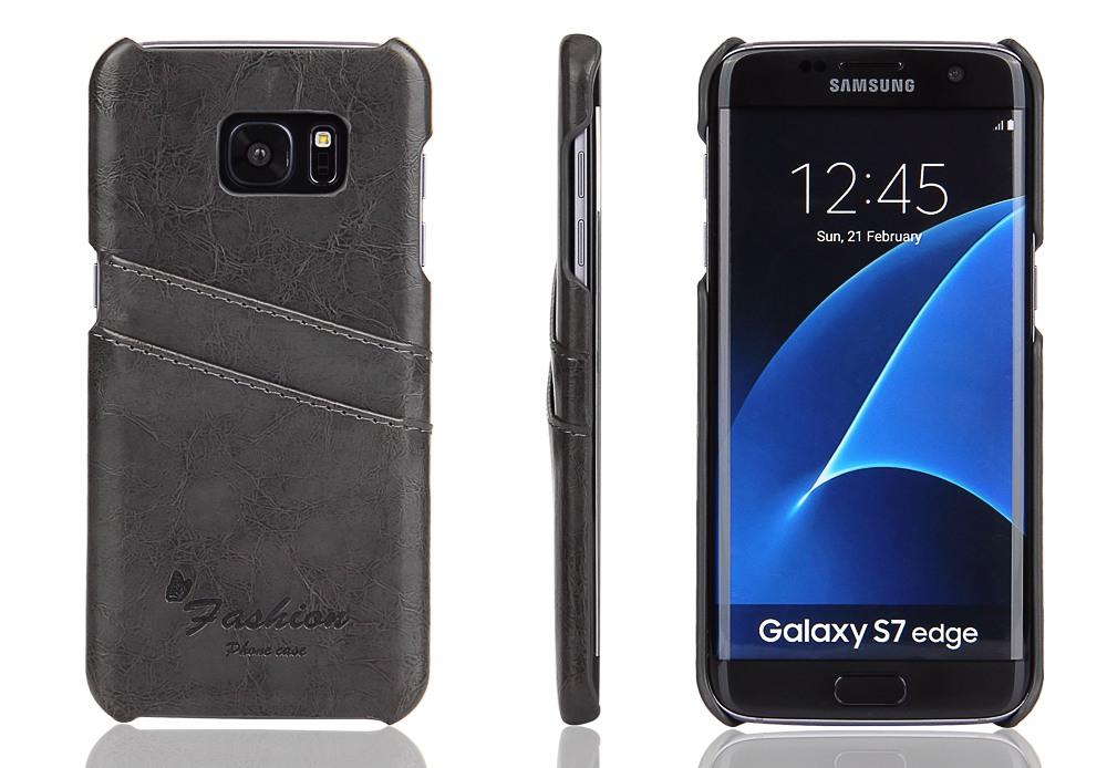 Husa slim din piele fina cu textura vintage, tip back cover, Samsung Galaxy S7 Edge - CaseMe, Gri