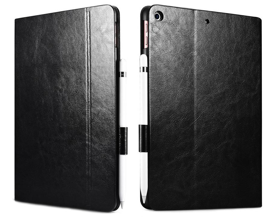 Husa piele fina, functie stand, suport pencil, iPad 9.7 (iPad 6 / iPad 5) - Xoomz by iCarer Knight, Negru