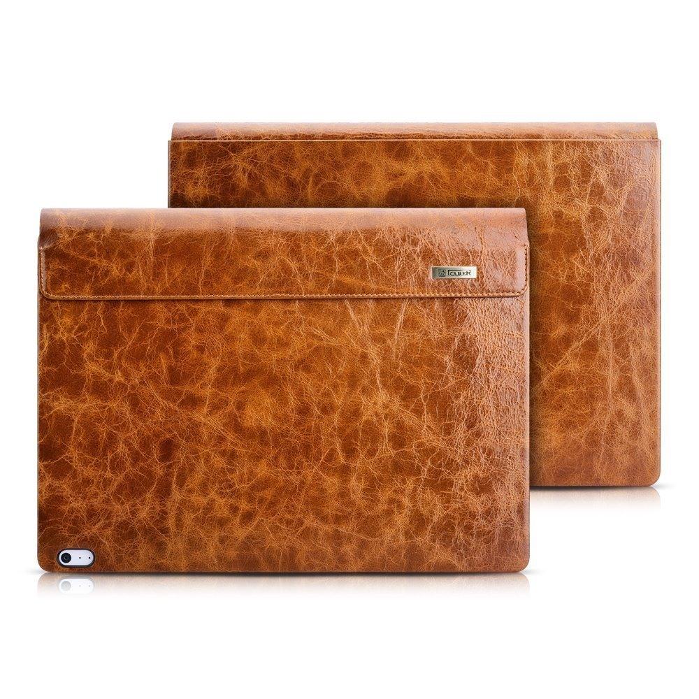 Husa laptop piele naturala iCarer Oil Wax Vintage, Microsoft SurfaceBook / Book 2 / Book 3, 13.5inch, Maro