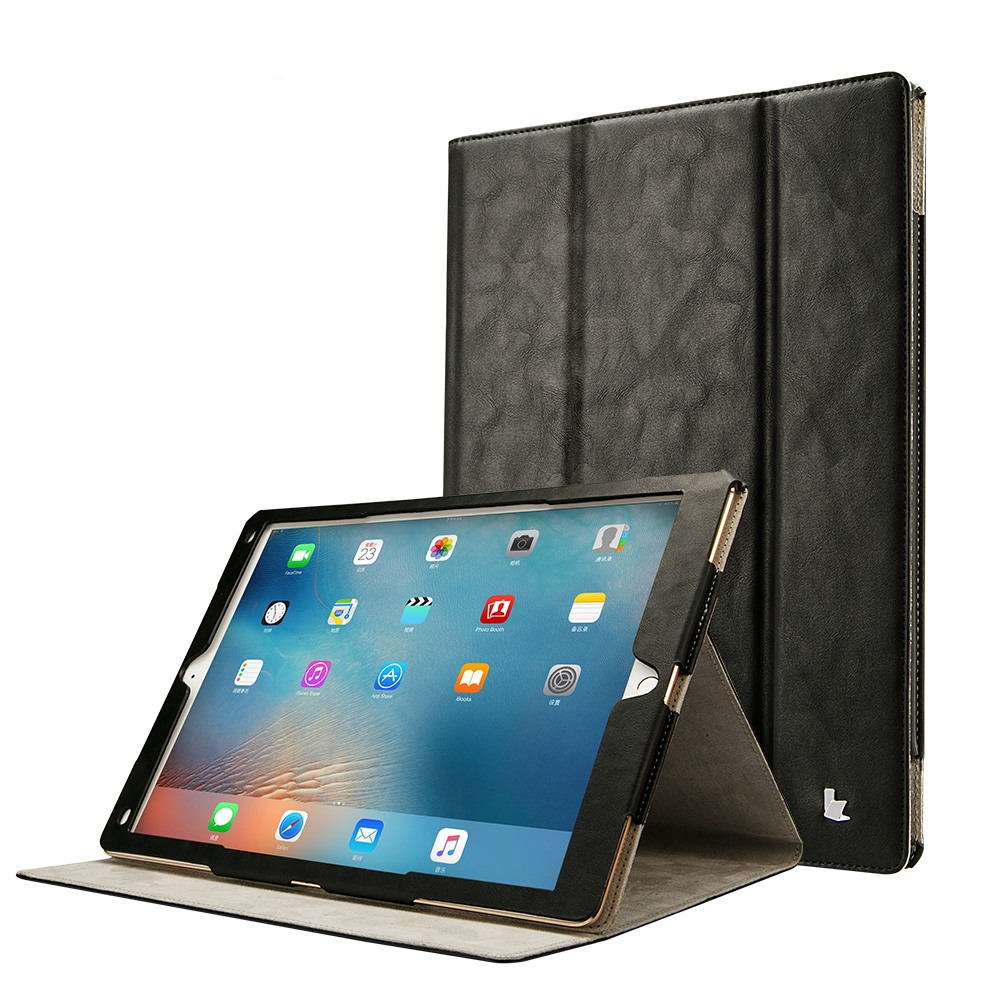 Husa piele microfibra, rama completa, stand, suport pencil integrat, smart cover, iPad Pro 12.9 (2017 / 2015) - Jison Case, Negru