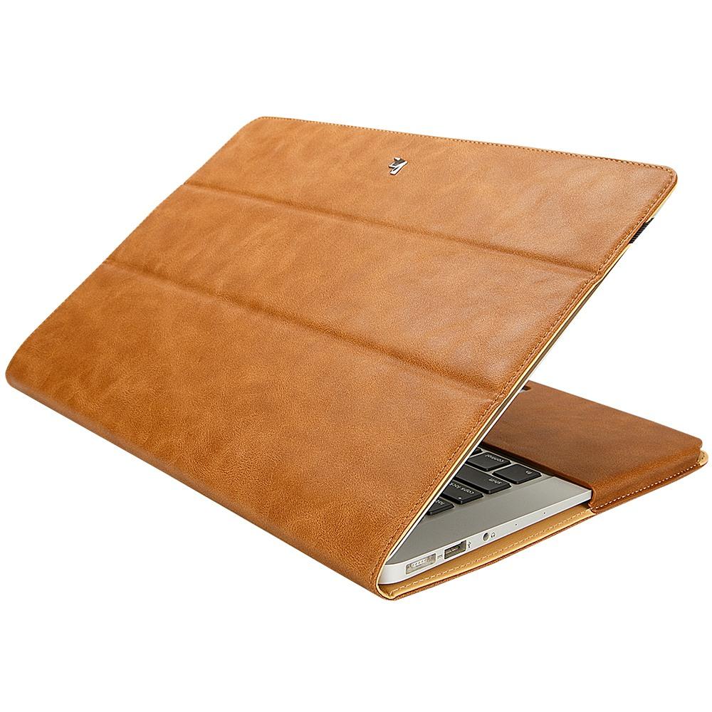 Husa piele microfibra, protectie completa, functie stand, MacBook Pro 13 inch (2016 - 2020) - Jison Case, Maro
