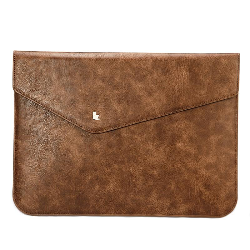 Husa piele microfibra tip plic, inchidere magnetica, MacBook Air / Pro 13 inch - Jison Case, Maro coffee